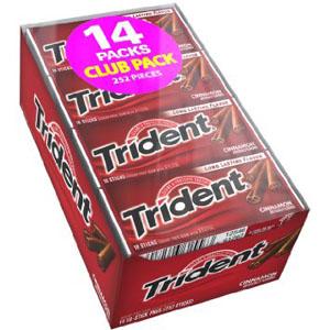 Kẹo gum không đường Trident hương quế (14 thanh/ lốc)