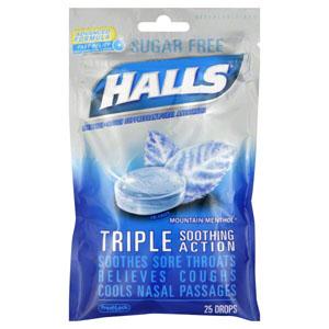 Kẹo ngậm trị ho Halls sugar free menthol