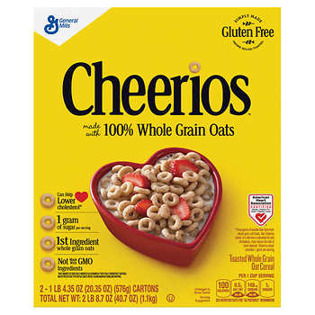 Ngũ cốc Cheerios 100 Whole Grain Oats (1.152kg - 2 hộp)