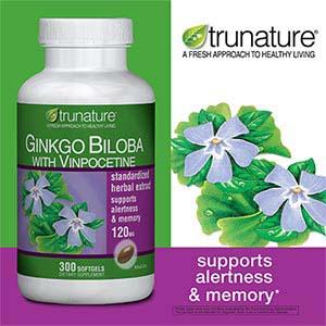 Thực phẩm giúp tăng trí nhớ TrueNature Ginkgo Biloba (300 viên/ chai)